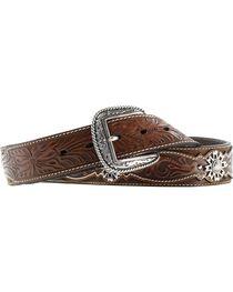 Ariat West Rowel Concho Tooled Belt, , hi-res