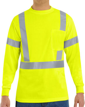 Red Kap Men's Class 2 Hi-Viz Long Sleeve Safety T-Shirt - Big & Tall, Multi, hi-res