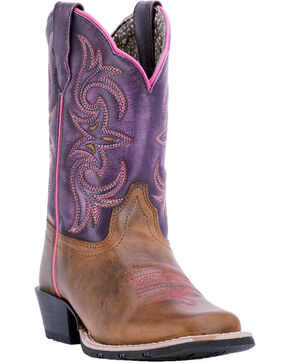 Dan Post Youth Girls' Majesty Brown/Purple Western Boots - Square Toe, Brown, hi-res