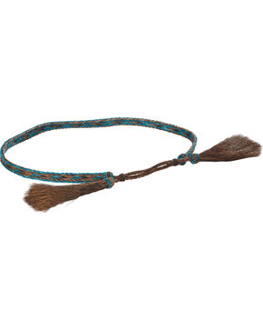 Cody James Braided Turquoise Horsehair Hat Band, Chocolate/turquoise, hi-res