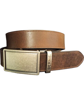 Berne Men's Brown Genuine Leather Buckle Belt, Dark Brown, hi-res