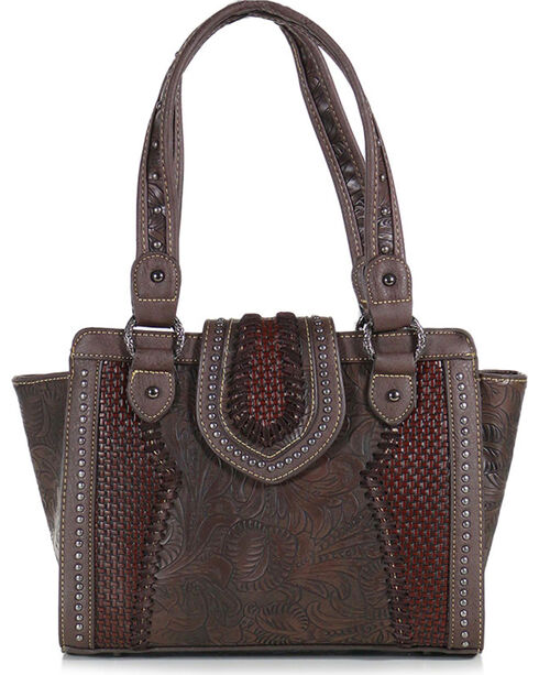 Trinity Ranch Women's Filigree Snap and Zip Shoulder Bag, Taupe, hi-res