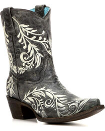 Corral Women's Cowhide Contrast Embroidery Short Boots - Snip Toe , , hi-res