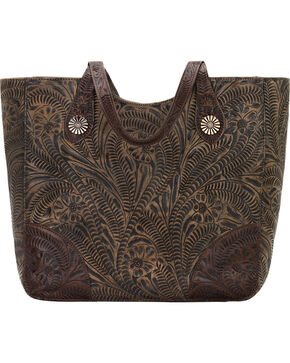 American West Annie's Secret Collection Brown Distressed Large Zip Top Tote, Brown, hi-res