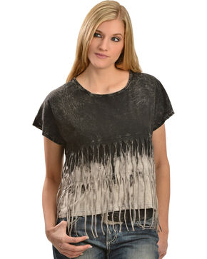 Petrol Women's Relaxed Fringe Ombre Tee, Black, hi-res