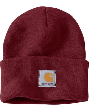 Carhartt Men's Burgundy Acrylic Watch Hat , Burgundy, hi-res
