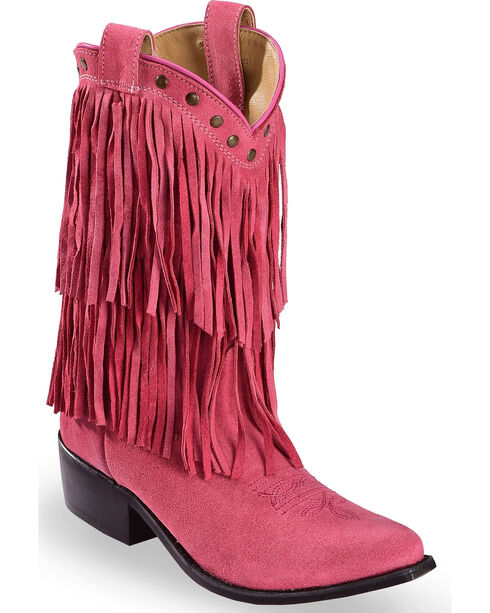 Shyanne Youth Girls' Pink Double Fringe Western Boots - Snip Toe , Pink, hi-res