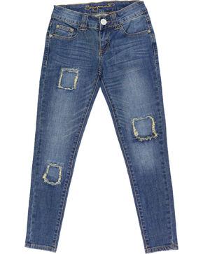 Shyanne® Girls' Patchwork Skinny Jeans, Blue, hi-res