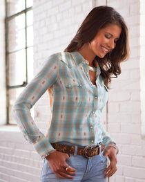 Ryan Michael Women's Mixed Ombre Dobby Plaid Shirt, , hi-res