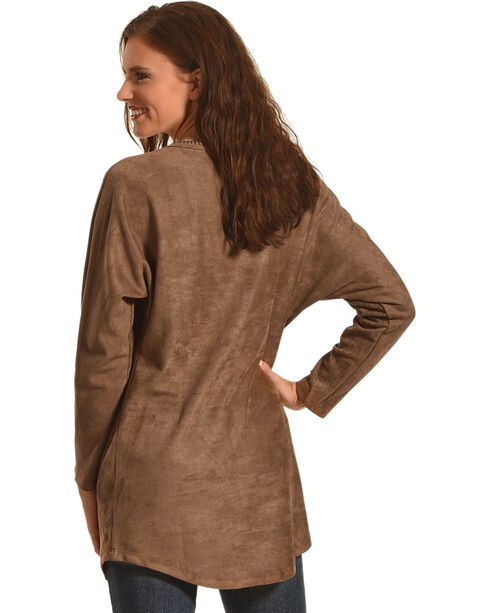 Tasha Polizzi Women's Legend Long Sleeve Fringe Tee, Lt Brown, hi-res