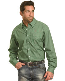 Cinch Men's Green Chain Print One Pocket Long Sleeve Shirt, , hi-res
