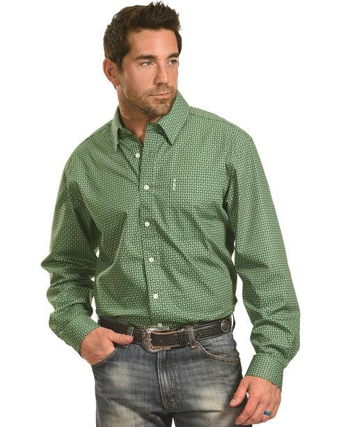 Cinch Men's Green Chain Print One Pocket Long Sleeve Shirt, Green, hi-res
