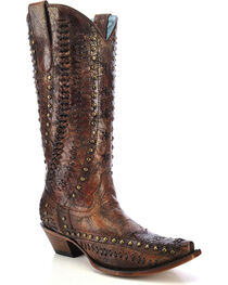 Corral Women's Leather Stitched Western Boots, , hi-res