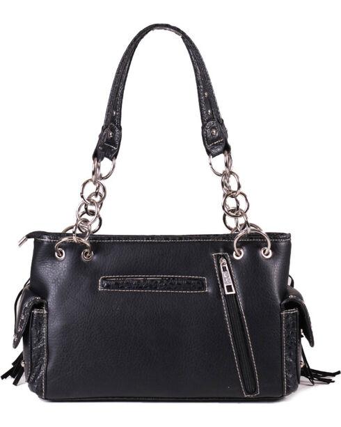 Savana Women's Sugar Skull Fringe Trimmed Handbag , Black, hi-res