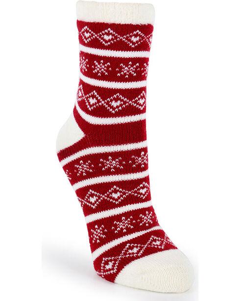 SofSole Women's Fireside Indoor Socks , Red, hi-res
