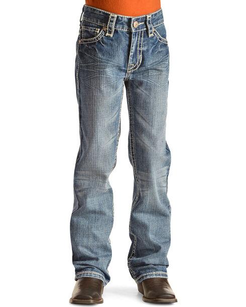Rock & Roll Cowboy Boys' Embroidered Boot Cut Jeans, Denim, hi-res