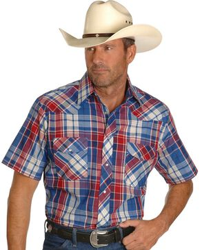 Wrangler Men's Assorted Short Sleeve Plaid Big and Tall Shirt, Plaid, hi-res