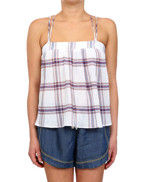 Glam Women's Crossed Back Plaid Gauze Tank , Multi, hi-res