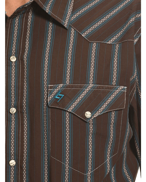 Garth Brooks Sevens by Cinch Men's Brown Dobby Stripe Western Shirt , Brown, hi-res
