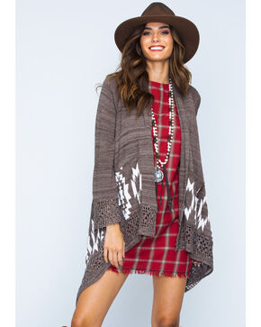 Ryan Michael Women's Sweater Cape, Coffee, hi-res