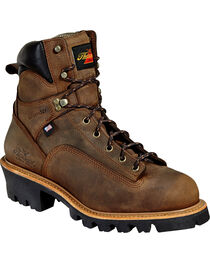 """Thorogood Men's 6"""" Lace To Toe Logger Waterproof Work Boots - Steel Toe, Brown, hi-res"""