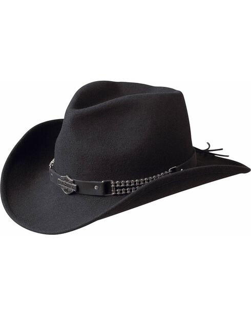 Harley Davidson Chain Band Bend-A-Brim Wool Felt Crushable Cowboy Hat, Black, hi-res