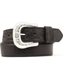 Bullhide & Tooled Leather Belt, , hi-res