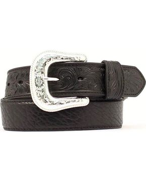Nocona Bullhide & Tooled Leather Belt, Black, hi-res