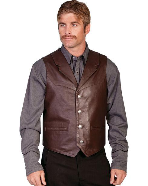 Scully Men's Lambskin Lapel Vest, Brown, hi-res