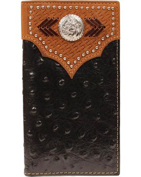 Nocona Men's Ostrich Rodeo Wallet and Checkbook Cover, Black, hi-res
