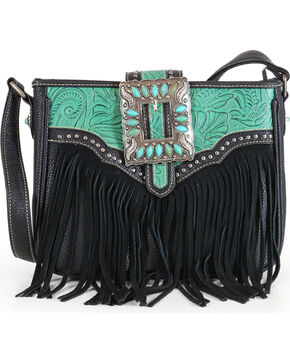 Trinity Ranch Women's Fringe Buckle Crossbody Bag, Multi, hi-res