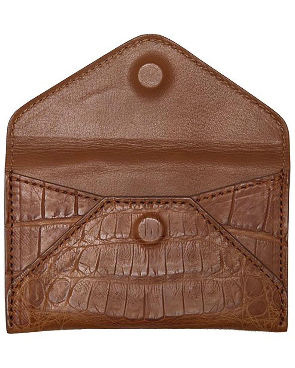 Lucchese Men's Cognac Crocodile Business Card Case, Cognac, hi-res