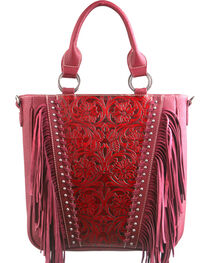 Montana West Trinity Ranch Red Tooled Design Concealed Handgun Collection Handbag, , hi-res