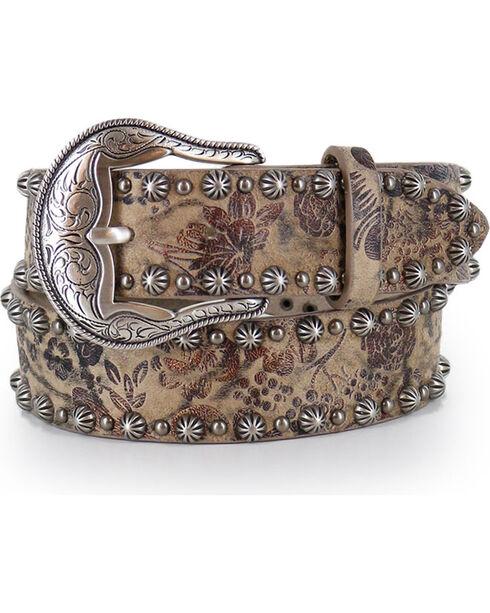 Angel Ranch Women's Floral Patterned Leather Belt, Lt Brown, hi-res