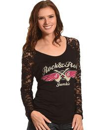 Rock & Roll Cowgirl Women's Black Rock & Roll Junkie Tee , , hi-res