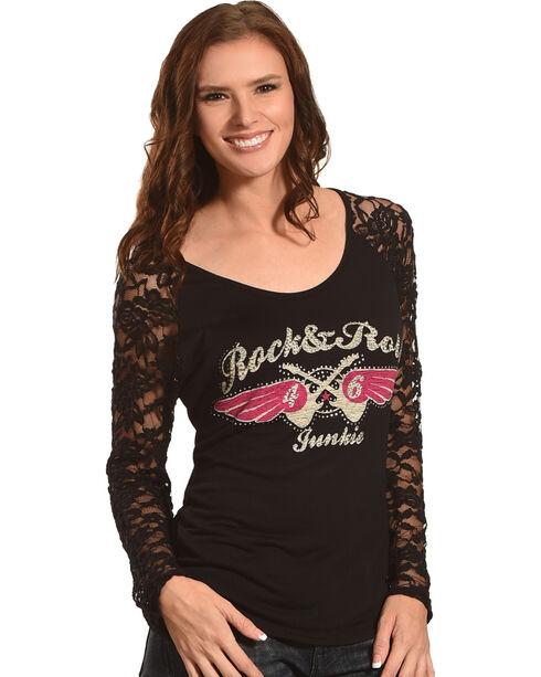 Rock & Roll Cowgirl Women's Black Rock & Roll Junkie Tee , Black, hi-res