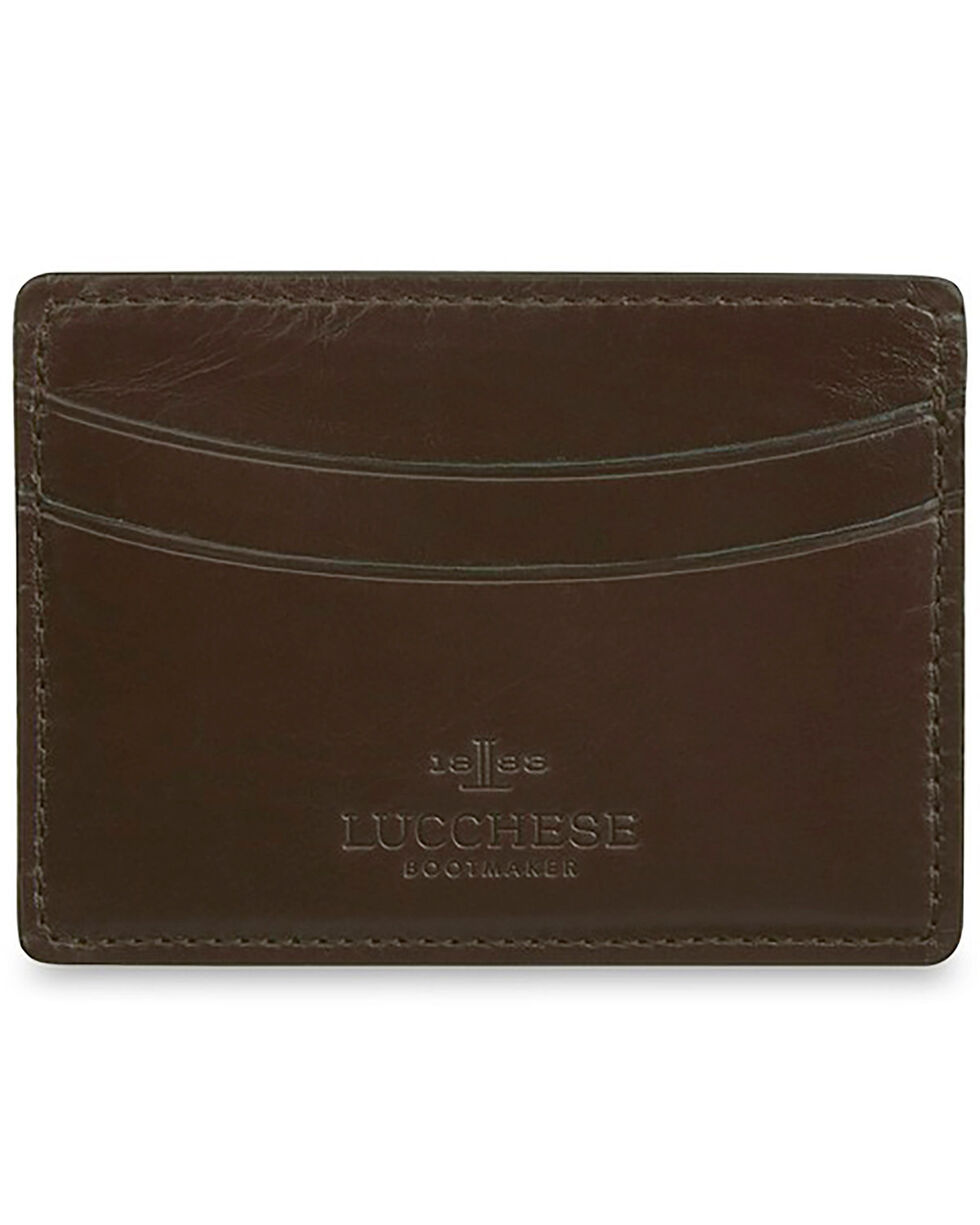 Lucchese Men's Brown Leather Credit Card Case, Dark Brown, hi-res