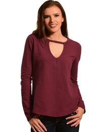 Other Follow Women's Burgundy Keyhole Swing Top, , hi-res