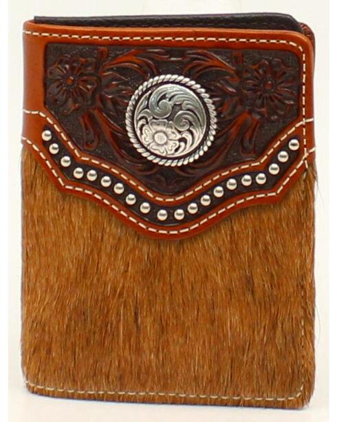 Ariat Calf Hair Studded Flip Case Bi-Fold Wallet, Brown, hi-res