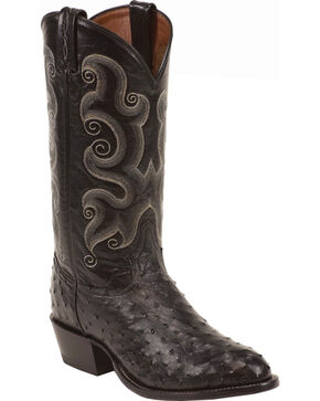 Tony Lama Men's Full Quill Ostrich Exotic Western Boots, Black, hi-res