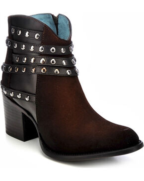 Corral Women's Studded Strap Ankle Boots, Tobacco, hi-res