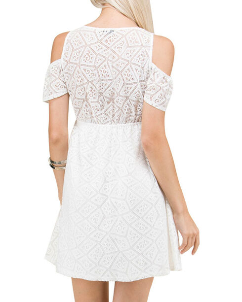Polagram Women's Floral Embroidered Cold Shoulder Dress, White, hi-res