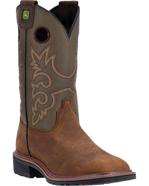 "John Deere Men's 11"" Leather Pull-on Western Work Boots - Square Toe , Brown, hi-res"