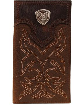 Ariat Men's Rodeo Bi-Fold Checkbook Wallet, Brown, hi-res
