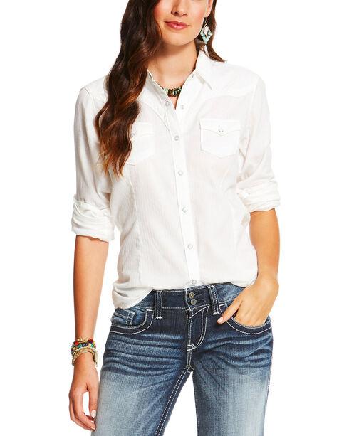 Ariat Women's White Butte Snap Shirt , White, hi-res