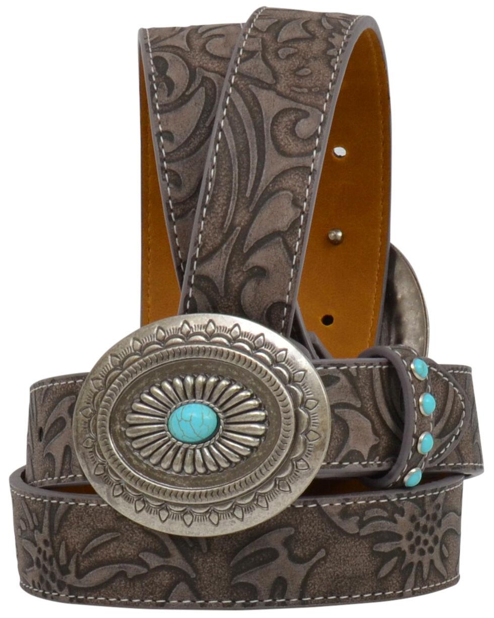 Angel Ranch Women's Brown Floral Turquoise Stud Buckle Belt, Brown, hi-res