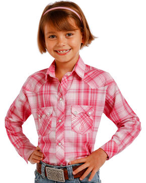 Panhandle Girls' Plaid Western Long Sleeve Shirt, Pink, hi-res