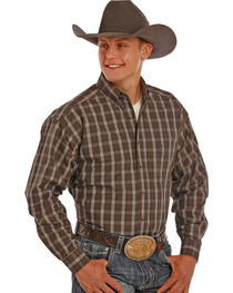 Tuf Cooper Performance Grey and Tan Plaid Western Shirt , , hi-res