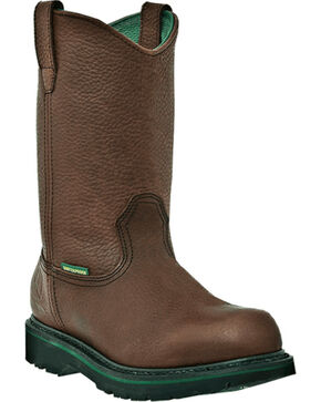 John Deere® Men's Steel Toe Waterproof Wellington Work Boots, Brown, hi-res