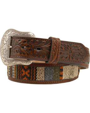 Nocona Ribbon Inlay Tooled Billet Belt, Brown, hi-res